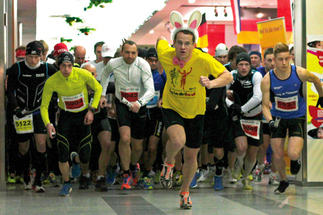 Start zum Spindellauf im Shopping Center